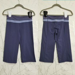 Lululemon Blue Purple Luon Low Rise Groove Crop
